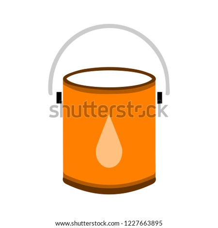 vector paint bucket illustration isolated, clean household equipment. color painting