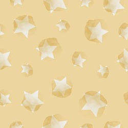 Vector painted sky, stars yellow seamless pattern