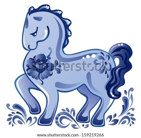 Blue Horses Painting Vector Painting Porcelain Blue