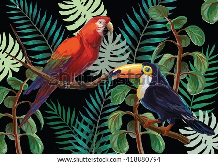 Vector painting with tropical birds and plants on black background. EPS8 file.