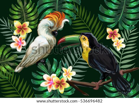 vector painting with tropical