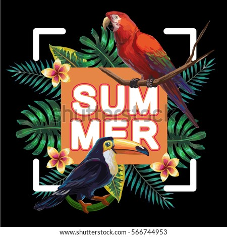 Vector painting with tropical birds and plants on dark background. EPS8 file.