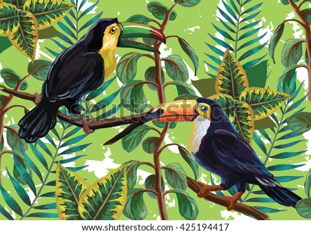 Vector painting with tropical birds and plants on green background. EPS8 file.