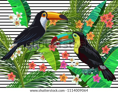Vector painting with tropical birds, toco and rainbow toucans surrounded by palm leaves, exotic flowers on the lined background. Realistic birds and plants. Colorful summer illustration.