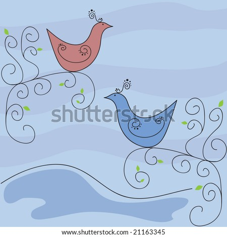 Vector pair exotic retro birds on swirly trees