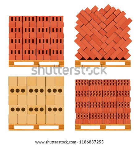 Vector pallet with bricks, a set of different shapes and bricks of bricks located on a pallet.