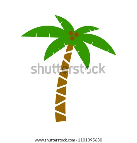 vector palm tree illustration, beach island sign - travel icon