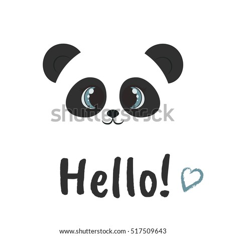 vector panda. Animal illustration. Hello icon. Smiling bear image. White background. Greeting card for St. Valentines Day. Love. Romantic illustration.