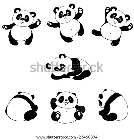 Vector, panda in some poses