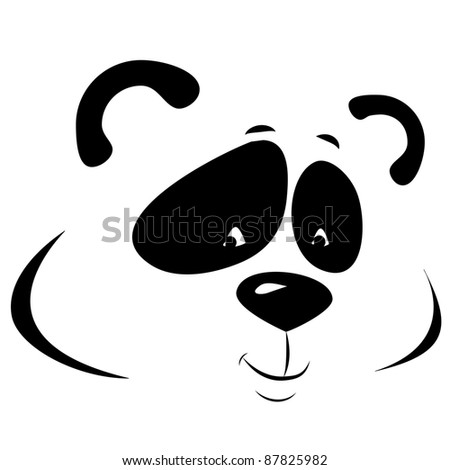 vector panda smiling. line picture isolated on white background