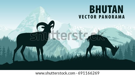 vector panorama of Bhutan with himalayan mountain goats