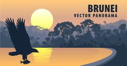 vector panorama of Brunei Darussalam with white bellied sea eagle