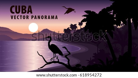 vector panorama of cuba with