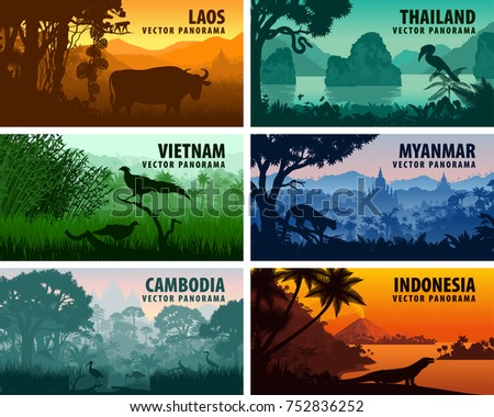 vector panorama of laos