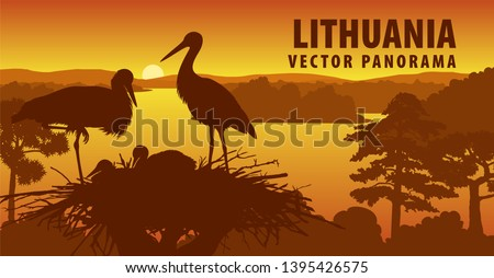 vector panorama of lithuania