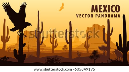 vector panorama of mexico with