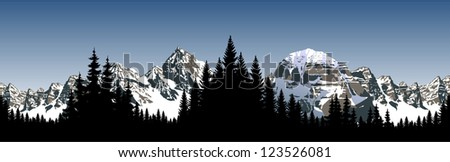 Vector Panorama of Mountains landscape