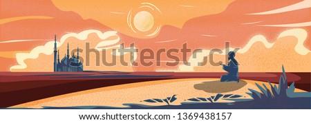 Vector Panorama of Muslim Man Making Traditional Prayer To God in Ramadan celebration Panoramic scene of traveler Muslim life in the desert. cartoon vector of mosque,dust,sand,desert and prayer.