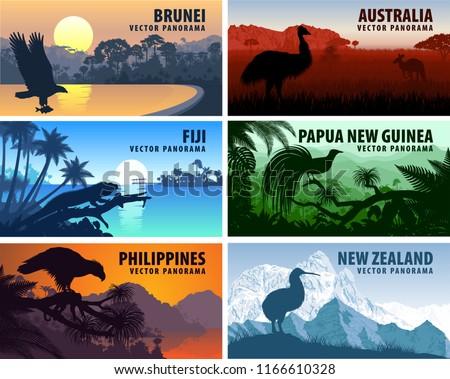 Vector panorama of Philippines, Australia, New Zealand, Brunei Darussalam and Papua New Guinea