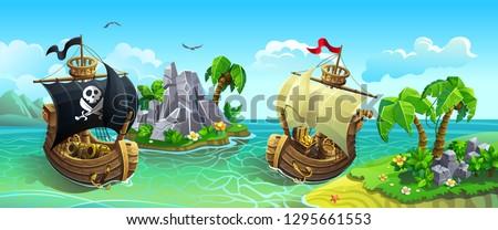 Vector panorama of wooden sailing ships among tropical islands. Pirates hunt for treasure.