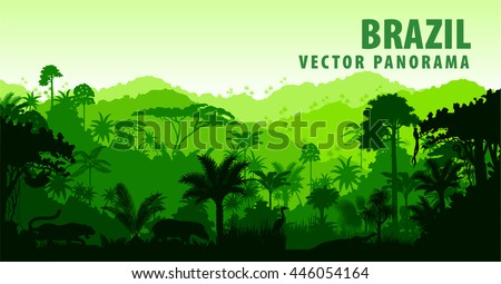 vector panorama with jungle...