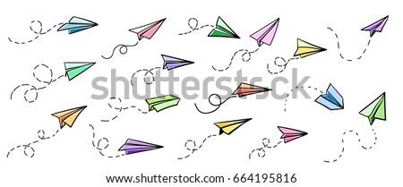 Vector paper airplane. Travel, route symbol. Set of colourful vector illustration of hand drawn paper plane. Isolated. Outline. Hand drawn doodle airplane. Black linear paper plane icon.