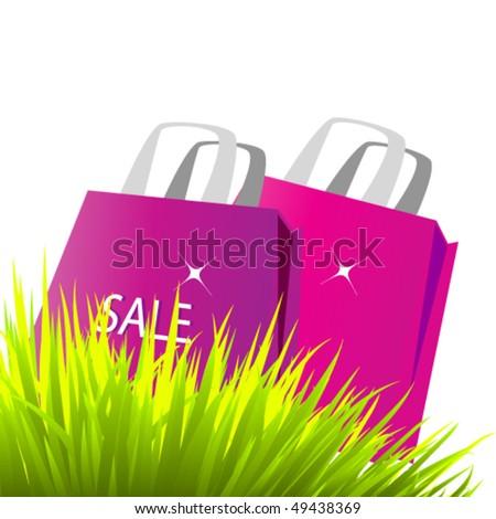 vector paper bags in grass