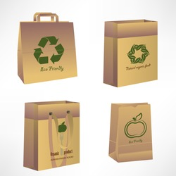 Vector paper bags, recycle concept