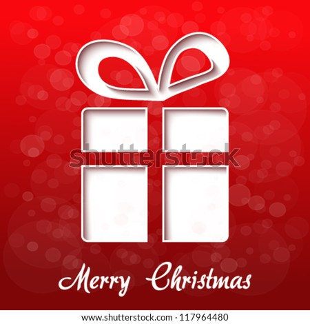 Vector paper Christmas gift - red background