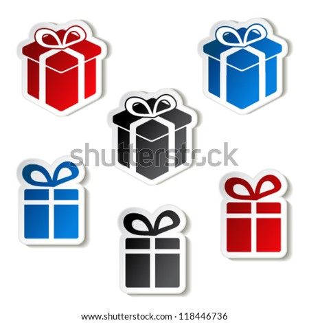 Vector paper Christmas gift, sticker