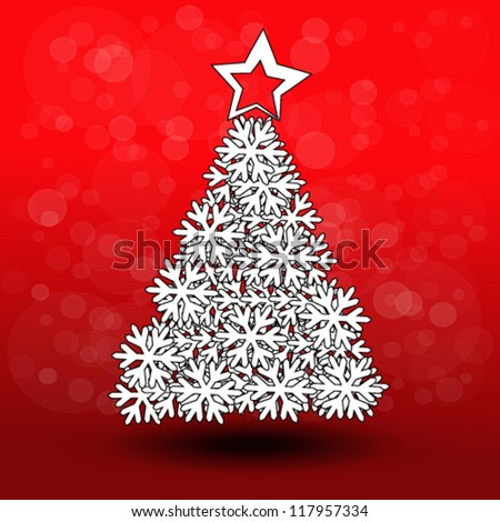 Vector paper Christmas tree - snowflake decoration - stock vector