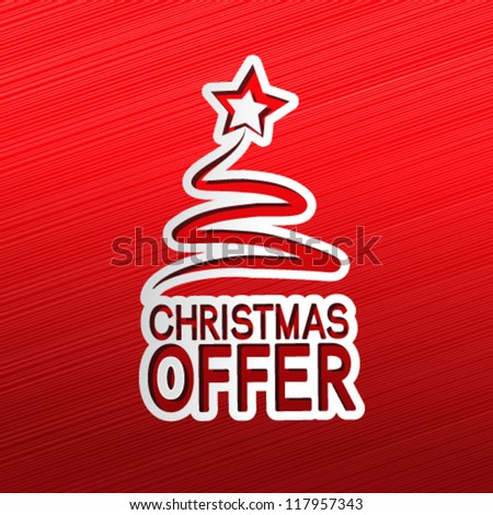 Vector paper Christmas tree, sticker - Christmas offer