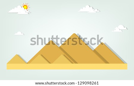 vector paper cut landscape with
