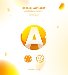 Vector paper cut origami alphabet. Bubble letter A logo template. Material design, flat, line, glossy, twisted style