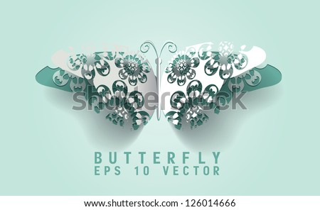 Vector paper cut- out butterfly ,EPS 10
