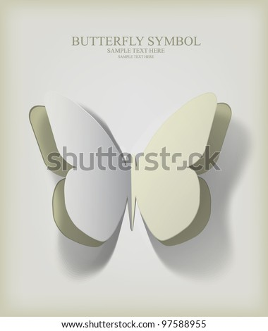 Vector  paper cut- out butterfly illustration with smooth,  the  shadows are pure vector