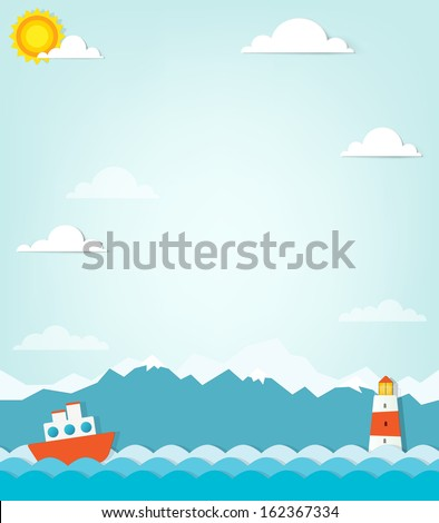 vector paper cut seascape with