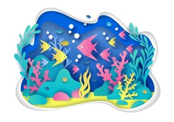 Vector paper cut underwater sea cave with coral reef, fish, seaweed. Deep ocean bottom landscape and marine life. Aquarium or public aquaria concept for web banner, website page etc.