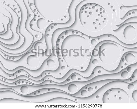 Vector paper cut waves modern background. Trendy craft style illustration. 3d effect imitation