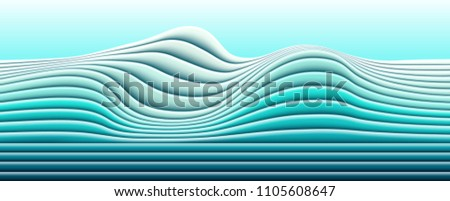 Vector paper cut waves modern background. Trendy style illustration. 3d effect imitation