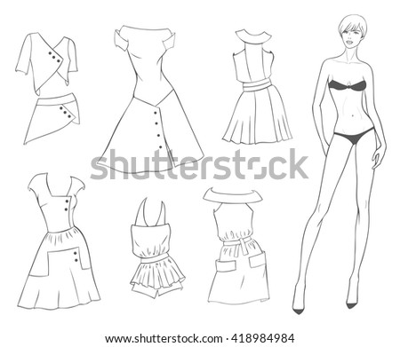 vector paper doll of a young