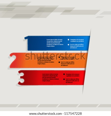 Vector paper elements, product choice, three steps