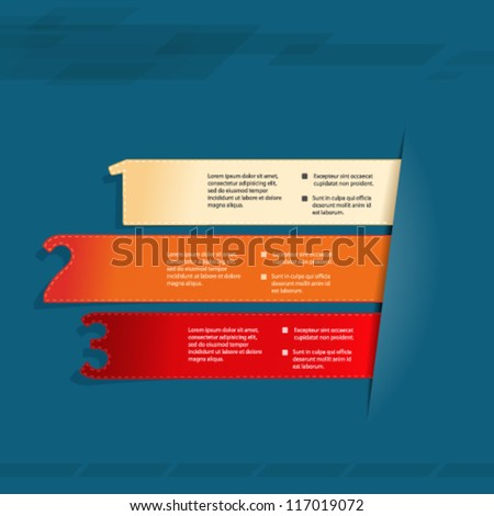 Vector paper elements with background - product choice, three steps