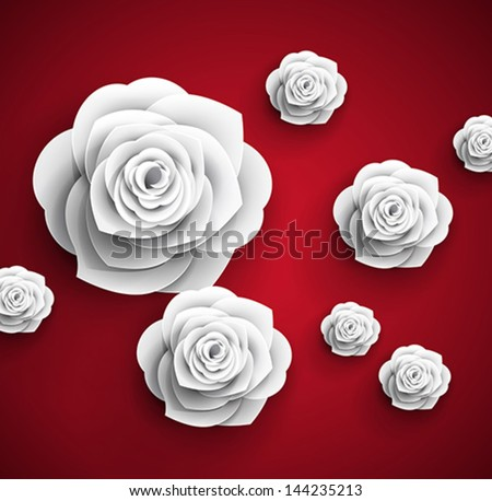 vector paper flowers rose