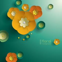 Vector paper graphic of floral pattern