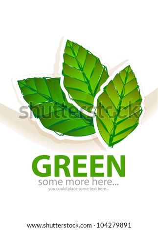 Vector paper green leaves