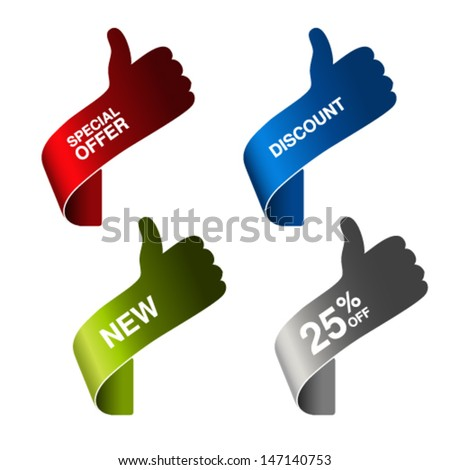 Vector paper hand gesture - special offer, discount, new, 25% off