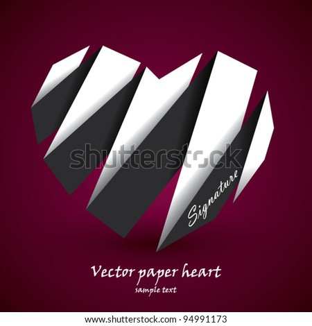 Vector paper heart black and white
