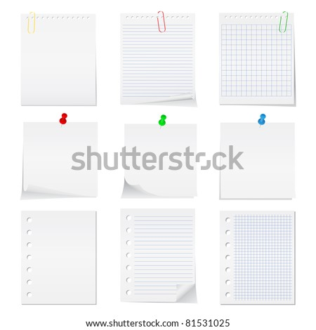 Vector paper notes with push pins and clips