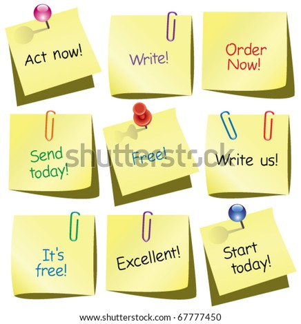 vector paper notes with words, push pin and paperclip - stock vector